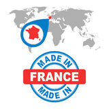 Made in France stamp. World map with red country. Vector emblem Royalty Free Stock Photography