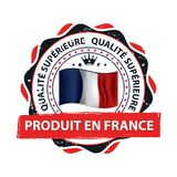Made in France, Trusted Brand, Premium Quality - grunge label designed for the retail industry. Made in France, Trusted Brand, Premium Quality in French language Stock Photos