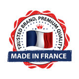 Made in France, Trusted Brand, Premium Quality  printable banner / sticker Stock Photo