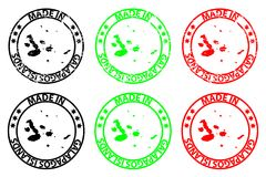 Made in Galapagos Islands rubber stamp. Made in Galapagos Islands - rubber stamp - vector, Galapagos Islands map pattern - black, green and red Royalty Free Stock Image