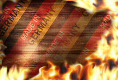 Made in germany Fire flames burning background. Hot graphic illustration Stock Photos