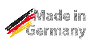 Made in Germany with German colours. Made in Germany with German national colours as paint strokes Royalty Free Stock Photography