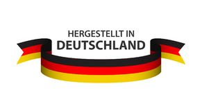 Made in Germany, In German - Hergestellt in Deutschland. Colored ribbon with the German tricolor isolated on white background Royalty Free Stock Photos