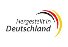 Made in Germany, In German - Hergestellt in Deutschland. Simple vector symbol with the German tricolor isolated on white background Royalty Free Stock Images