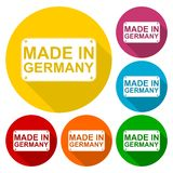 Made in Germany icons set with long shadow Stock Photos
