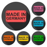 Made in Germany icons set with long shadow Royalty Free Stock Image