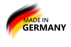 Made in germany. Logo with bruhses and text in german colors vector illustration