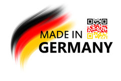 Made in germany. Logo with qr code and bruhses in german colors royalty free illustration