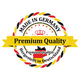 Made in Germany. Premium Quality German text sticker / label for print. Made in Germany. Premium Quality German text translation of: Hergestellt in Deutschland Stock Photography