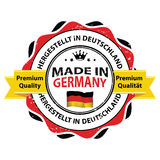 Made in Germany Premium Quality printable sticker German language. Made in Germany, Premium Quality  - grunge label containing the map and German flag colors Stock Photos