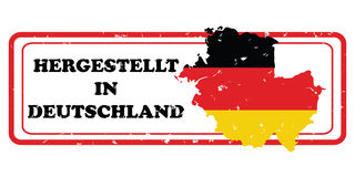 Made in Germany  printable sticker in German language. Made in Germany German language: Hergestellt in Deutchland - printable label with German flag colors. CMYK Royalty Free Stock Photo