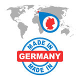 Made in Germany stamp. World map with red country. Vector emblem Royalty Free Stock Images