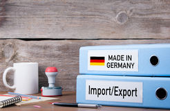 Made In Germany. Two binders on desk in the office. Business bac Royalty Free Stock Photos