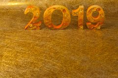 2019 is made in gold color place in golden background. Is mean the golden year for lucky all year royalty free stock image