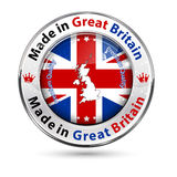Made in Great Britain, Premium Quality - shiny elegant button. / label with national flag colors and map stock illustration