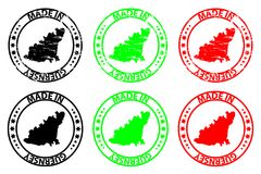 Made in Guernsey rubber stamp. Made in Guernsey - rubber stamp - vector, Guernsey map pattern - black, green and red Royalty Free Stock Photo