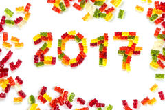 2017 made from gummy bears as a happy New Year greeting card, i stock images