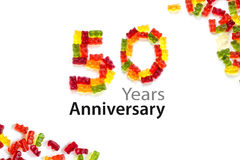 50 made from  gummy bears  isolated on white and sample text Yea Stock Images
