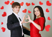 Made heart. Man and women made heart with their hands Stock Images