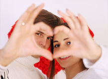 Made heart. Man and women made heart with their hands Stock Photography