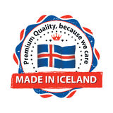 Made in Iceland, Premium Quality stamp. Made in Iceland, Premium Quality , because we care - grunge label containing the map and flag colors of Iceland. Print Stock Images