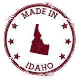 Made in Idaho stamp. Grunge rubber stamp with Made in Idaho text and us state map. Vibrant vector illustration stock illustration
