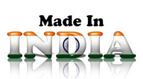 Made in India. The words made in the India in the Indian flag colors  on white Stock Images