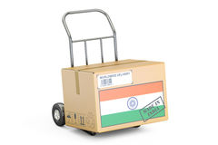 Made in India concept. Cardboard Box on Hand Truck, 3D rendering Stock Image