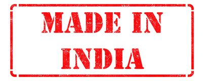 Made in India - Red Rubber Stamp. Stock Photography