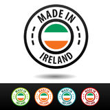 Made in Ireland badges with Irish flag. Stock Photography