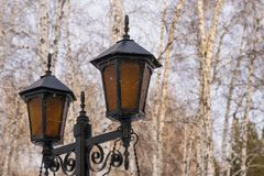 Beautiful roadside lamps with ornament. royalty free stock photography
