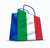 Made in Italy. Italian made symbol of shopping in Italy represented by a tourist bag that was used to buy goods from this mediteranean country based in Europe Royalty Free Stock Photos