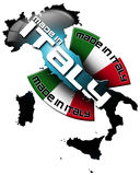 Made in Italy. Icon Made in Italy, with Italian territory and the Italian flag Royalty Free Stock Image