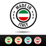 Made in Italy badges with Italian flag. Stock Photos