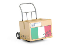 Made in Italy concept. Cardboard Box on Hand Truck, 3D rendering Stock Photography