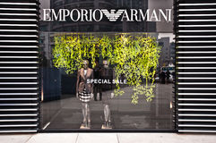 MADE IN ITALY: Emporio Armani store. CHONGQING, CHINA - JAN 22: Emporio Armani boutique in Chongqing on January, 22, 2010. The fashion house, founded in 1975 in Stock Images
