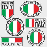 Made in Italy label set with Italian flag, vector Royalty Free Stock Photo