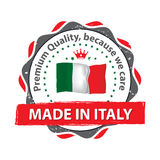 Made in Italy. Premium Quality, because we care. Grunge label / sticker / badge with the Italian flag. Print colors used Stock Image