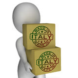 Made In Italy Stamp On Boxes Shows Italian Products Royalty Free Stock Photography
