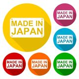 Made in Japan icons set with long shadow Royalty Free Stock Photo
