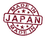 Made In Japan Stamp Shows Japanese Stock Image