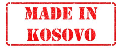 Made in Kosovo on Red Stamp. Stock Photos