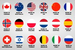 Made in. Lable 18 countries set. With flags Stock Photo