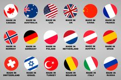 Made in. Lable 18 countries set with flags. Vector Stock Photos