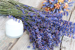 Made lavender cream. And dried lavender royalty free stock photos
