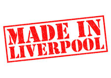 MADE IN LIVERPOOL. Red Rubber Stamp over a white background Stock Photography