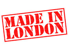MADE IN LONDON. Red Rubber Stamp over a white background Royalty Free Stock Photo