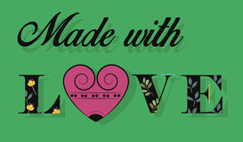 Made with Love. Black Floral font. Royalty Free Stock Photography