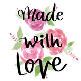 Made with love hand lettering message Stock Images