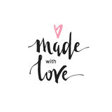 Made with love - handwritten text isolated on white background. Love concept. stock photography